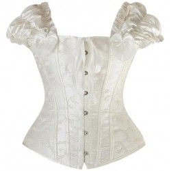 Embossed brocade corset with sleeve in white
