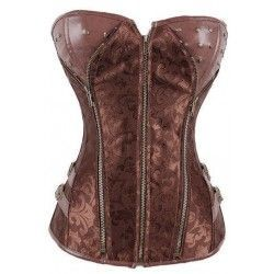 Corset brown with floral...