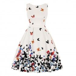 White vintage dress with butterfly print