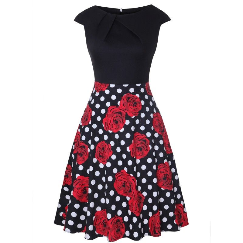 Two-tone vintage dress with polka dots and roses print