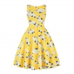 Yellow vintage dress with white flowers