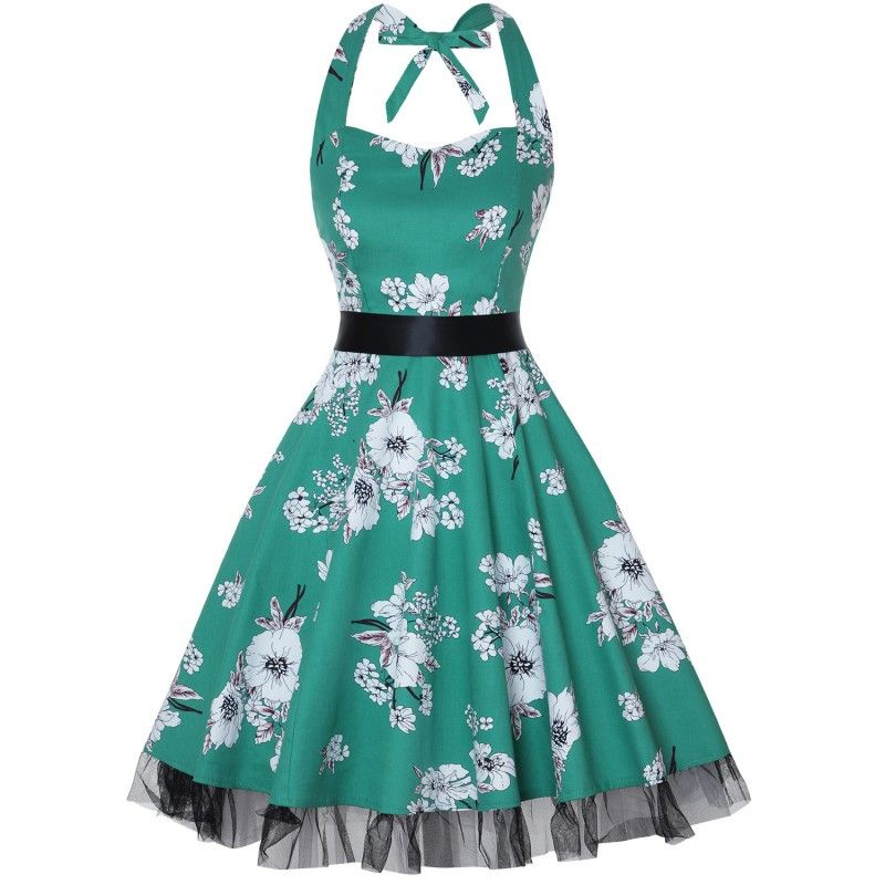 Vintage dress tied to the green neck with white flowers