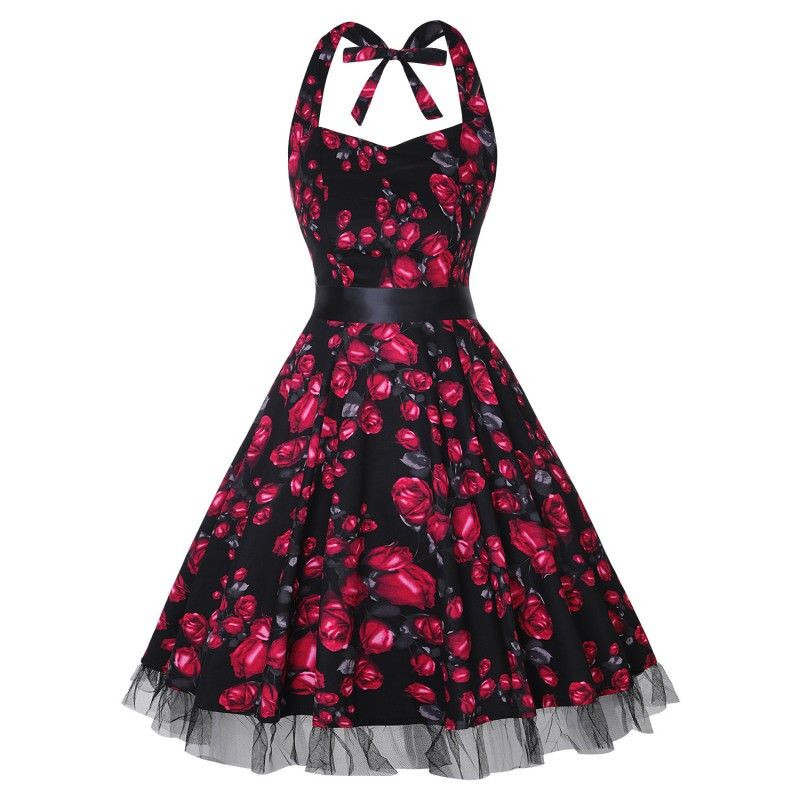 Black vintage dress with red flowers tied around the neck