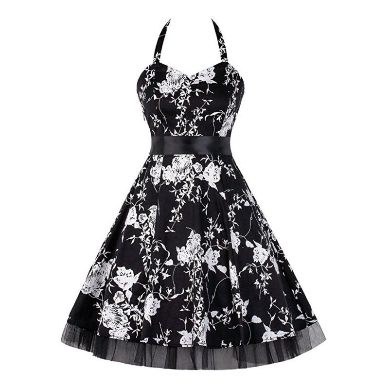 Vintage dress tied neck black with white flowers