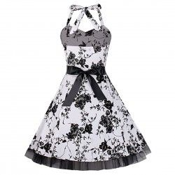 Vintage white neck tied dress with black flowers
