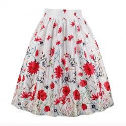 White vintage skirt with red flower print