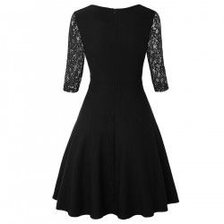 Black vintage dress with lace three-quarter sleeves