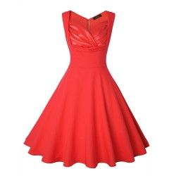 Red vintage dress with draped neckline