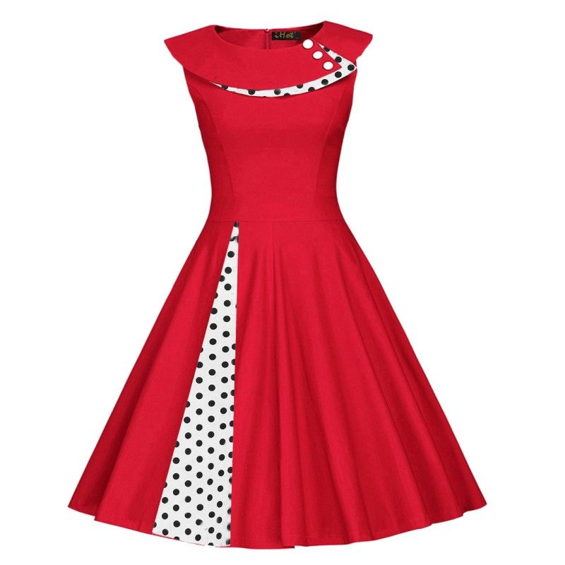 Red vintage dress with polka dots