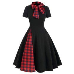 Black vintage dress with red and blue plaid