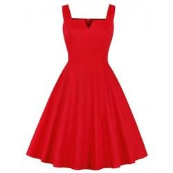 Vintage Red Spaghetti Straps V Neck Bodice Summer Swing Dress