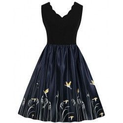 Fashion V Neck Wild Crane Print Sleeveless High Waist Party Swing Dress