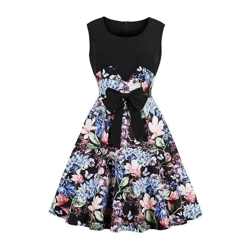 Retro Black Floral Print Scoop Neck Sleeveless High Waist Cocktail Swing Dress