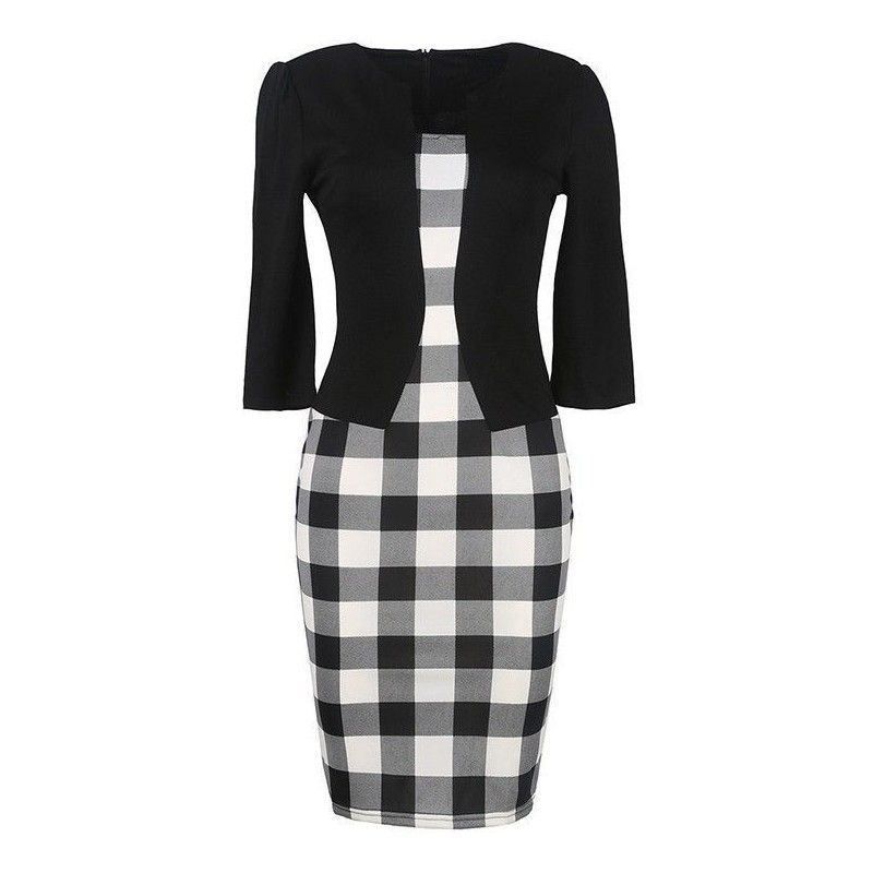 Black and white vintage dress with simulated jacket and belt