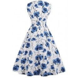 Vintage Blue/White Sleeveless V Neck Floral Print Midi Swing Party Dress