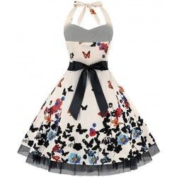 Vintage Sweetheart Neckline Halter Backless Butterfly Flower Print Casual Swing Knee-length