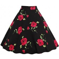 Black skirt with red rose...