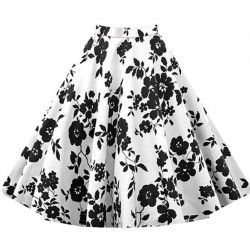 White skirt with black rose print