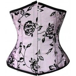Corset under pink breast with black floral ornament