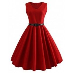 Glamorous waist belt red flare hem sleeveless skater dress