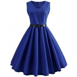 Natural blue waist belt swing hem zip skater dress V neck
