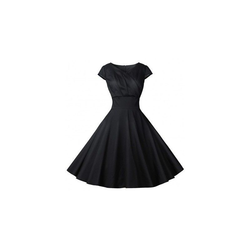 Curve smoothing shirred flare hem wrap zip skater black dress V neck stretch