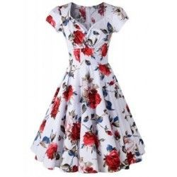 Print floral retro white dress