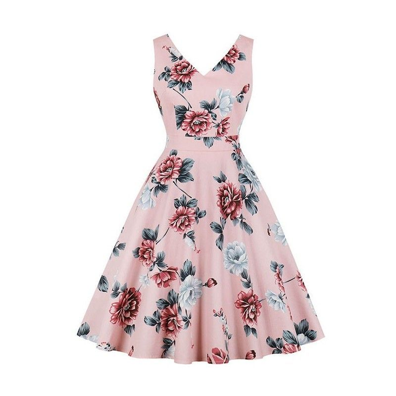 Retro rockabilly floral print V neckline sleeveless frock party midi dress