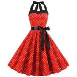 Curve smoothing red halter waist tie skater dress polka dot girls