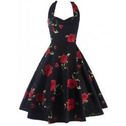 Summer red floral print rockabilly black dress