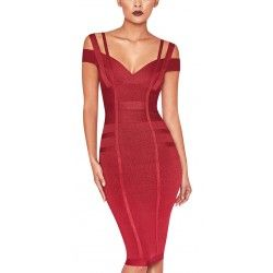 Red wine bandage dress with suspenders