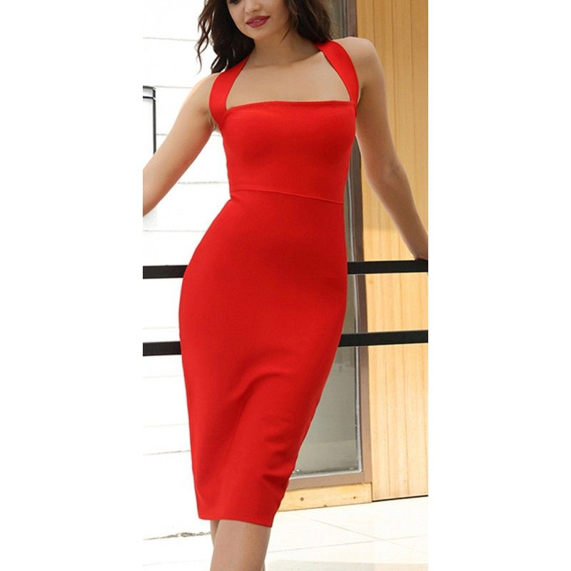 Bandage red dress slim fit with halter neck