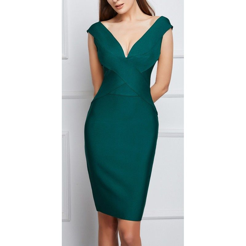 Green bandage dress sleeveless