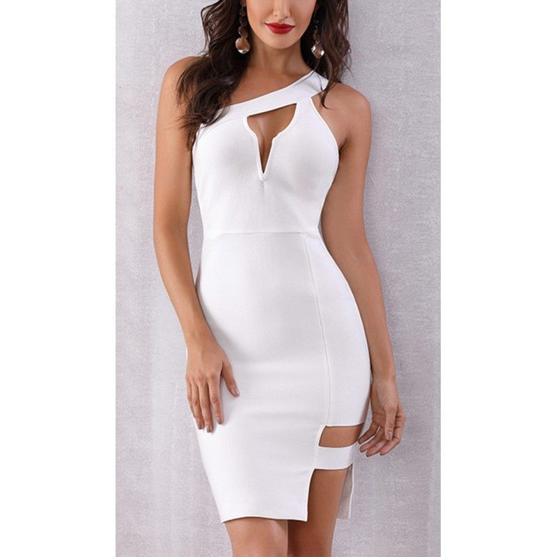 Bandage white dress on one shoulder