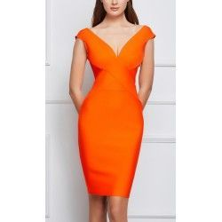 Orange bandage dress with v...