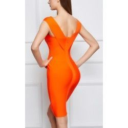 Orange bandage dress with v neck and sleeveless