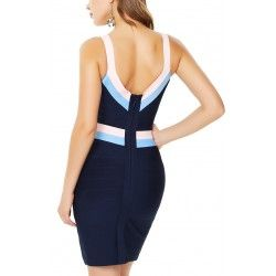 Blue bandage dress with v-neck and open back