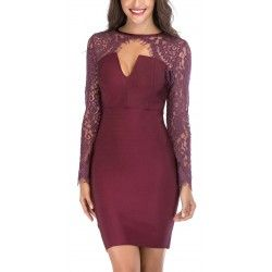 Red wine bandage dress with lace long sleeves