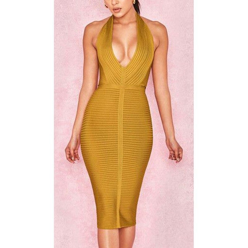 Green bandage dress with pronounced neckline