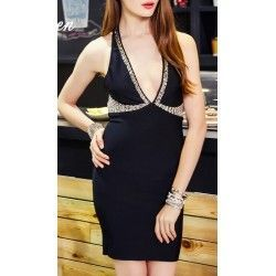 Bandage Dress - Black with...