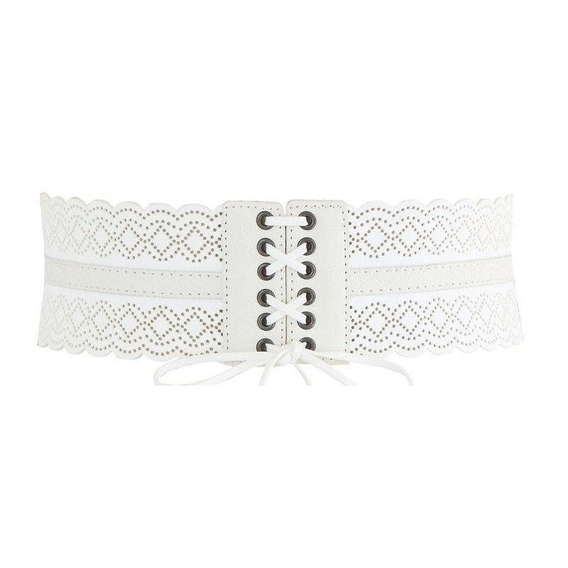 White elastic corset belt with faux leather details