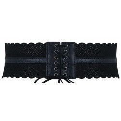 Black elastic corset belt with faux leather details