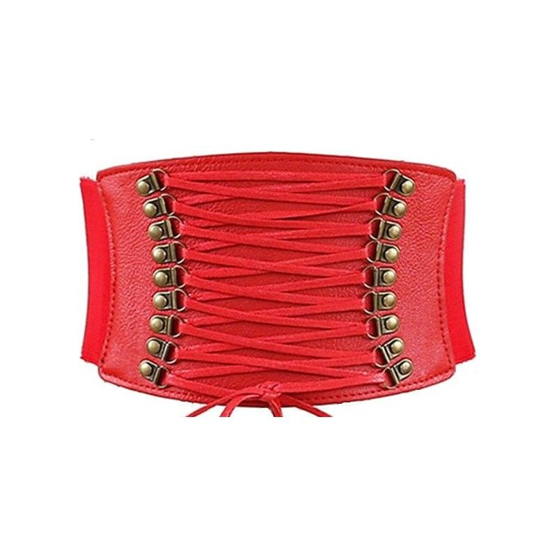 Red elastic corset belt with faux leather details