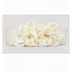 White elastic waistband decorated with flower