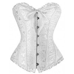 Corset in white damask