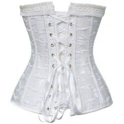 Brocade corset trimmed in black tulle and organza