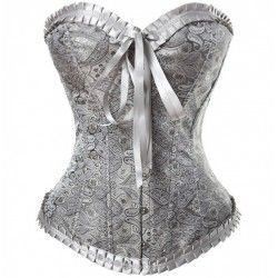 Satin corset stamped silver gray with ribbed and tie