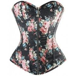 Corset black denim with floral motifs and pinion