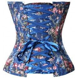 Blue denim corset with floral print and zipper