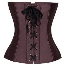 Brown satin corset with lace details